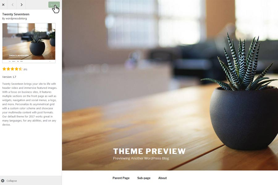 The Themes Preview Page