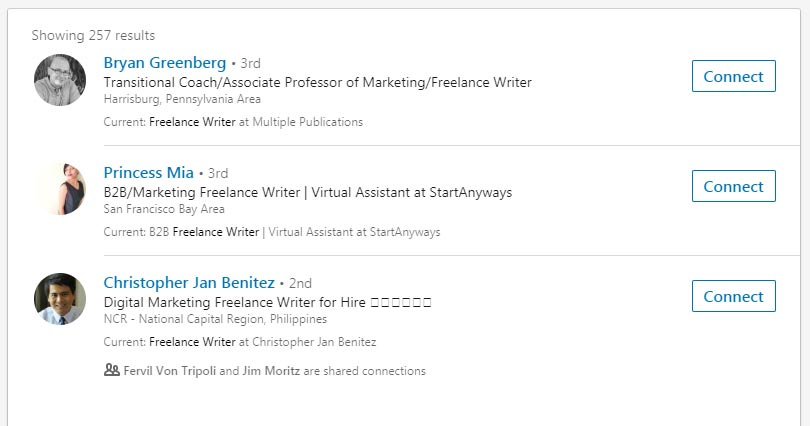 LinkedIn Search for Freelance Writers
