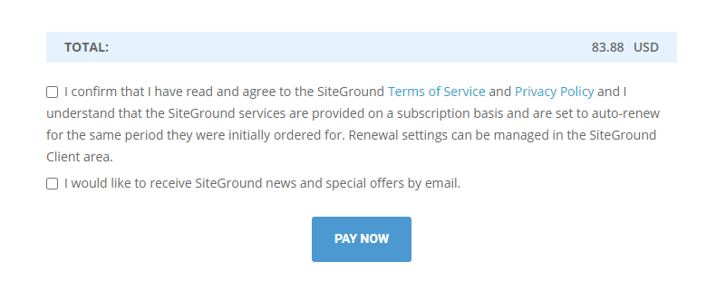 Confirm that you have read the Terms and Conditions - Click PAY NOW!