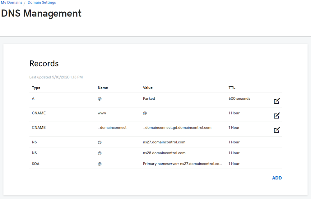 GoDaddy DNS Management Page